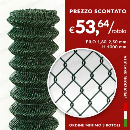 25 METRI RETE RECINZIONE METALLICA  ELETTROSALDATA maglia 50x75 mm