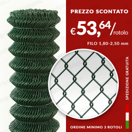 RETE METALLICA A ROMBO PLASTIFICATA 50X50 (25 mt)