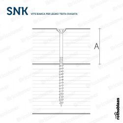 SNK vite bianca per legno TESTA SVASATA Ø 6 mm