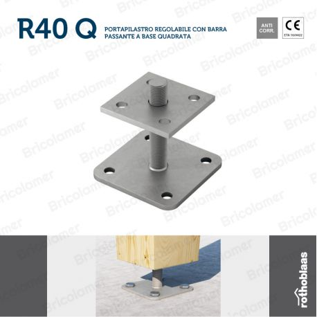 R40 Q portapilastro regolabile a base quadrata