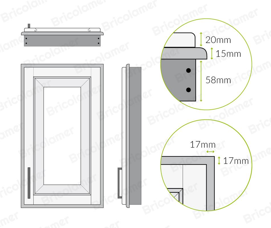 portes sur cadre dessin technique