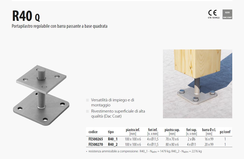 Portapilastro regolabile con barra passante a base quadrata