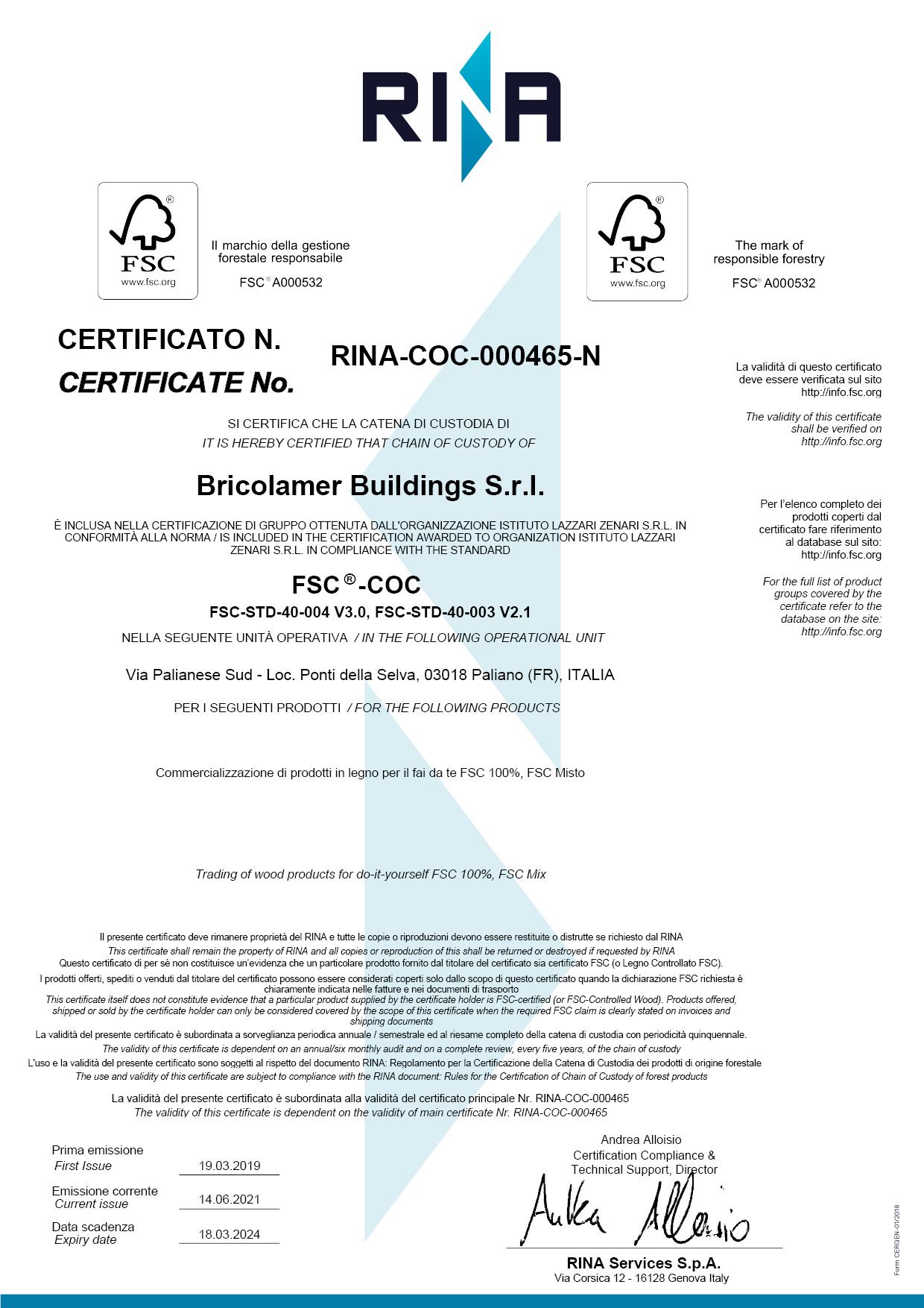 Certificato FSC Bricolamer